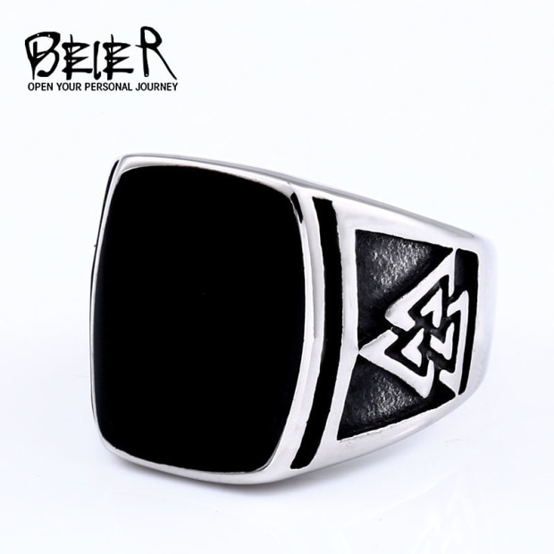 BEIER Cool Men s Retro Egypt Pattern Northern Europe Viking Stainless Steel Ring Gothic Style Fashion 3 - Viking Valknut Ring