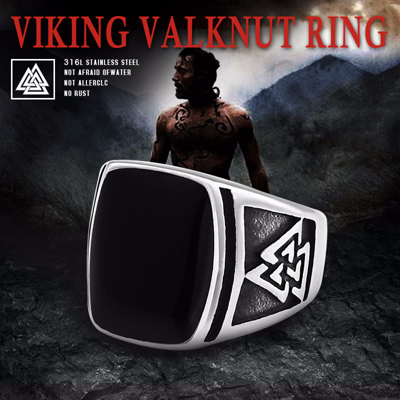 BEIER Cool Men s Retro Egypt Pattern Northern Europe Viking Stainless Steel Ring Gothic Style Fashion - Viking Valknut Ring