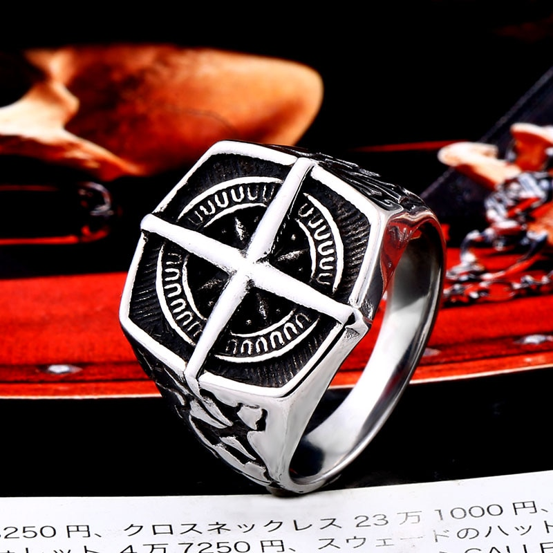 BEIER Fashion lychee viking geometric stainless steel men pirate compass ring Punk Cross Finger ring Vintage 1 - Cross Compass Ring