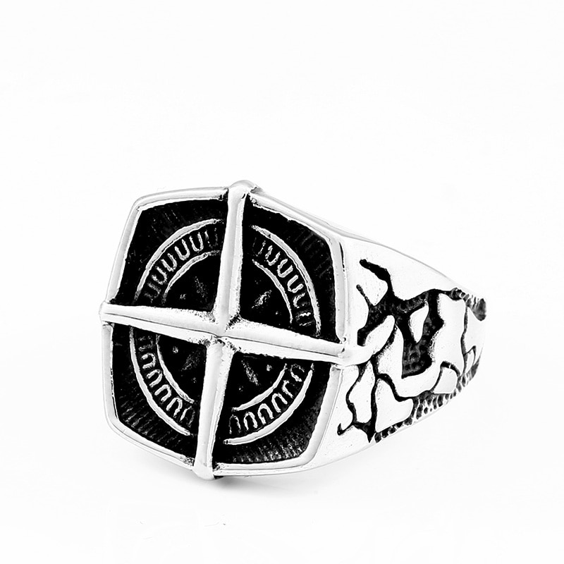 BEIER Fashion lychee viking geometric stainless steel men pirate compass ring Punk Cross Finger ring Vintage 2 - Cross Compass Ring