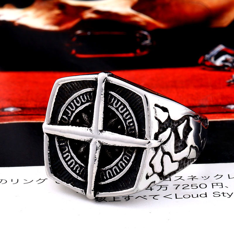 BEIER Fashion lychee viking geometric stainless steel men pirate compass ring Punk Cross Finger ring Vintage 3 - Cross Compass Ring