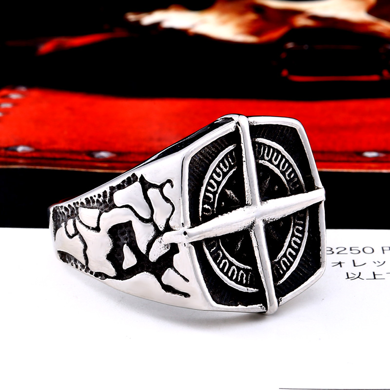 BEIER Fashion lychee viking geometric stainless steel men pirate compass ring Punk Cross Finger ring Vintage 5 - Cross Compass Ring