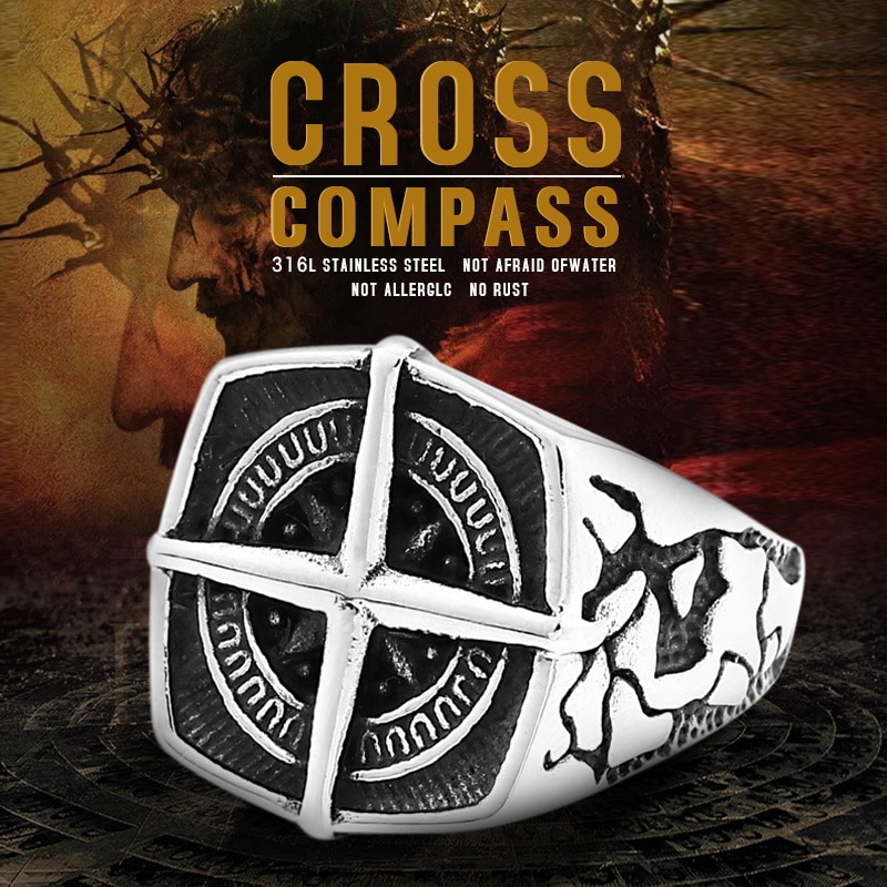 BEIER Fashion lychee viking geometric stainless steel men pirate compass ring Punk Cross Finger ring Vintage - Cross Compass Ring