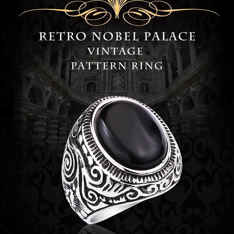 BEIER New Natural Oval Opal Green Stone Ring Stainless Steel Vintage Nobel Palace Product For Woman - Retro Nobel Palace Ring