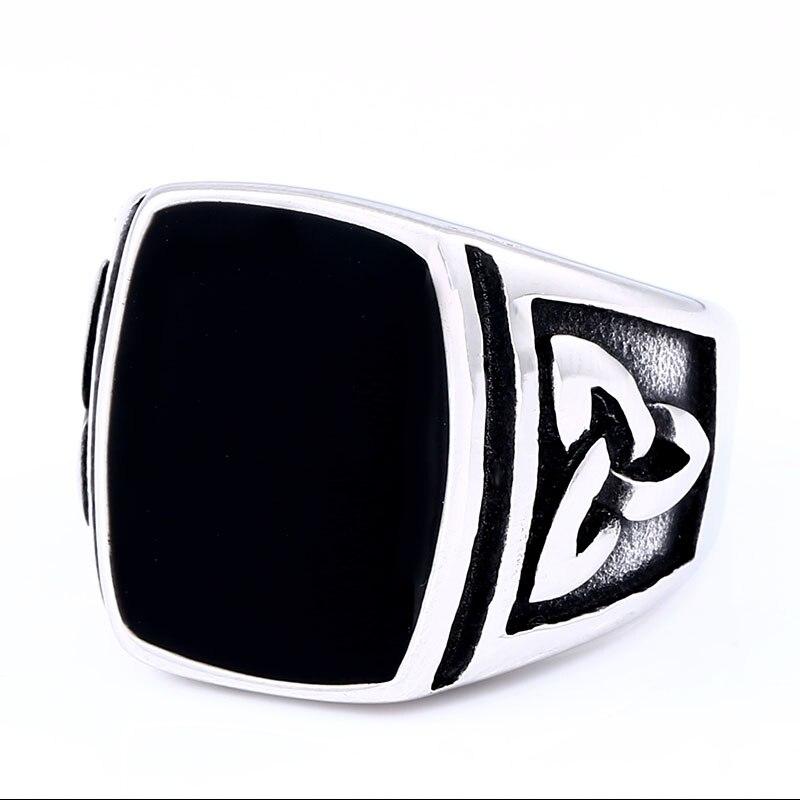 BEIER Punk Titanium Steel Ring for Men Jewelry Flat Black Stone Valknut Signet Ring Odin Symbol 1 - Viking Celtic Ring