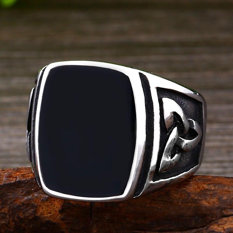 BEIER Punk Titanium Steel Ring for Men Jewelry Flat Black Stone Valknut Signet Ring Odin Symbol 2 - Viking Celtic Ring
