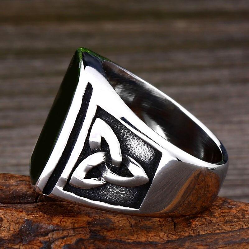 BEIER Punk Titanium Steel Ring for Men Jewelry Flat Black Stone Valknut Signet Ring Odin Symbol 3 - Viking Celtic Ring