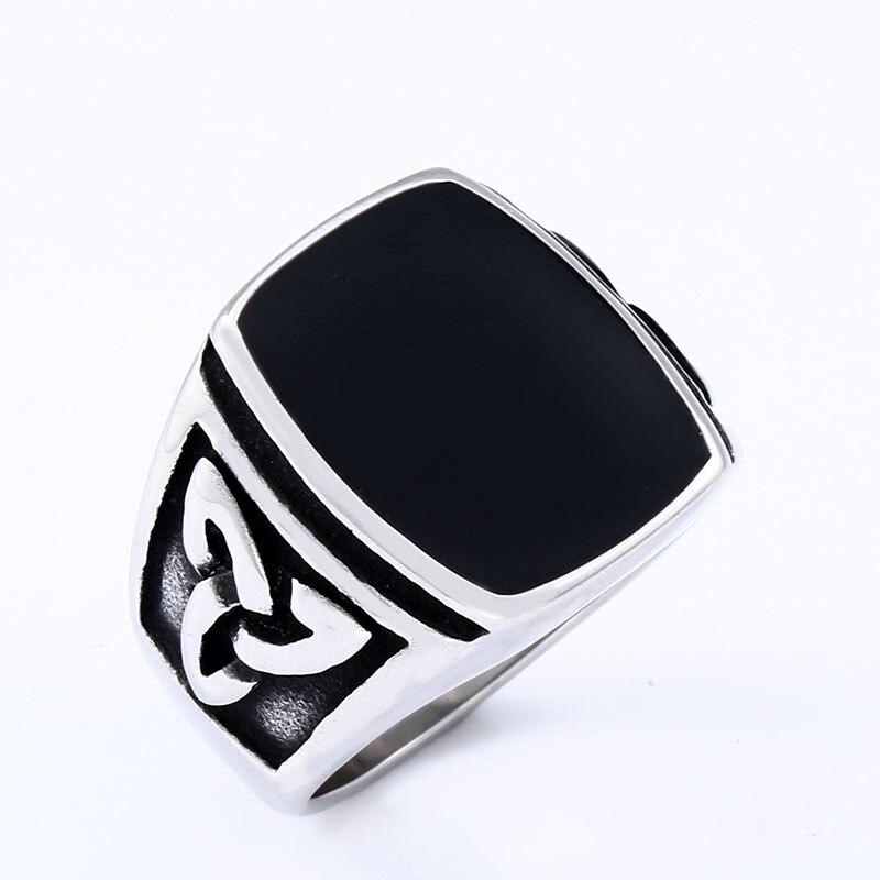BEIER Punk Titanium Steel Ring for Men Jewelry Flat Black Stone Valknut Signet Ring Odin Symbol 4 - Viking Celtic Ring