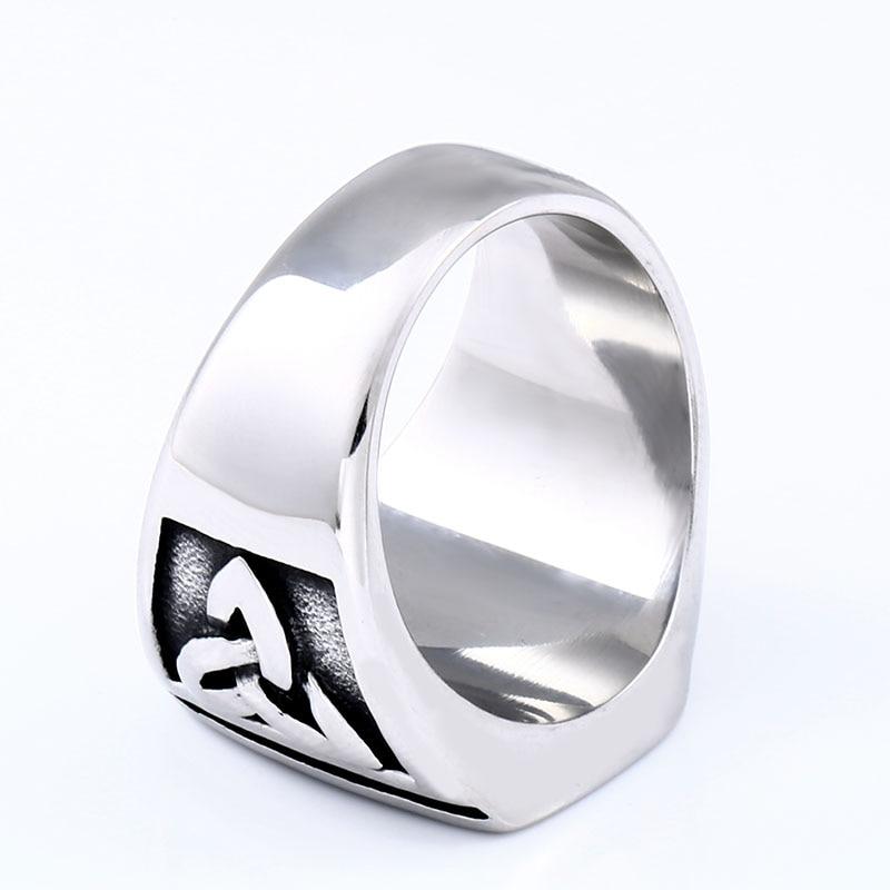 BEIER Punk Titanium Steel Ring for Men Jewelry Flat Black Stone Valknut Signet Ring Odin Symbol 5 - Viking Celtic Ring