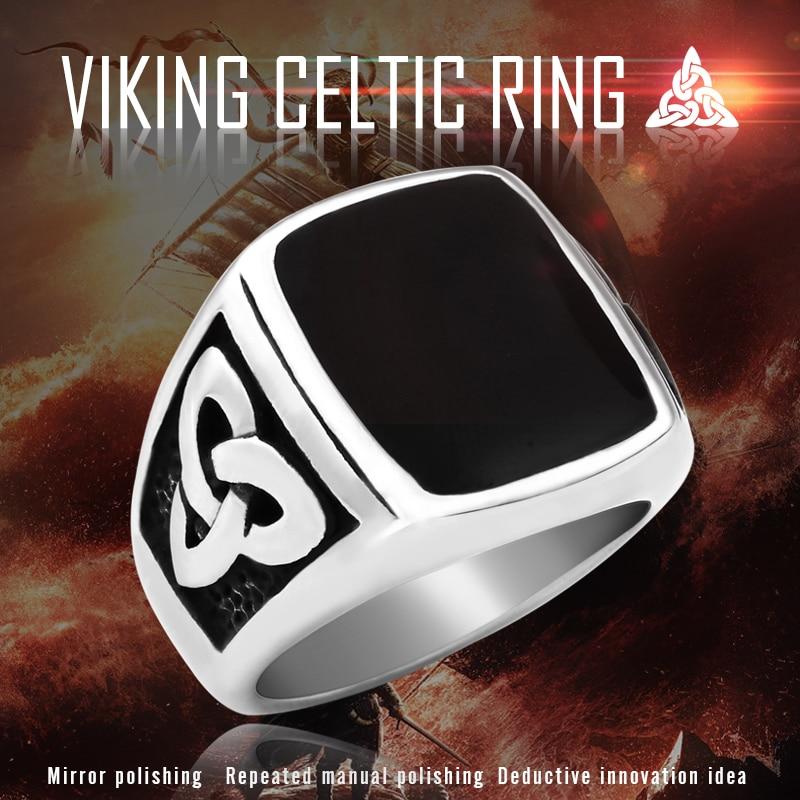 BEIER Punk Titanium Steel Ring for Men Jewelry Flat Black Stone Valknut Signet Ring Odin Symbol - Viking Celtic Ring