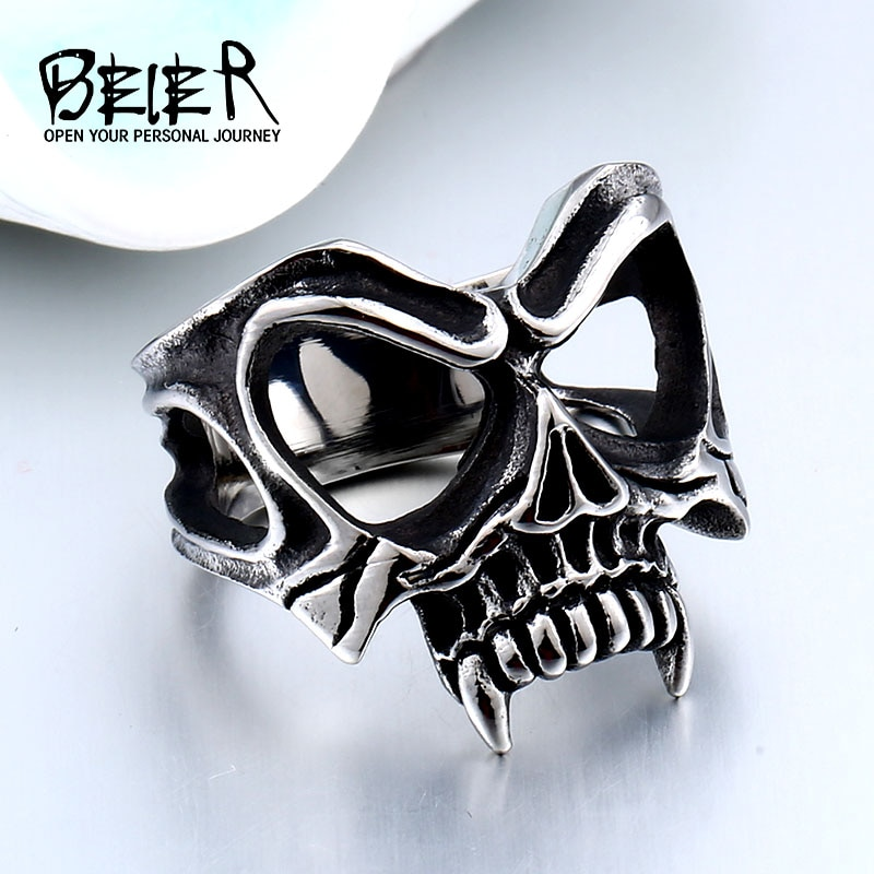 BEIER Unique 316L stainless steel Gothic Casting Evil Damn Vampire Skull mark Ring Punk jewelry for 1 - Vampire Skull Ring