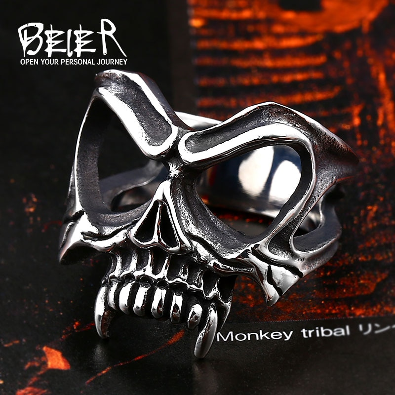 BEIER Unique 316L stainless steel Gothic Casting Evil Damn Vampire Skull mark Ring Punk jewelry for 2 - Vampire Skull Ring