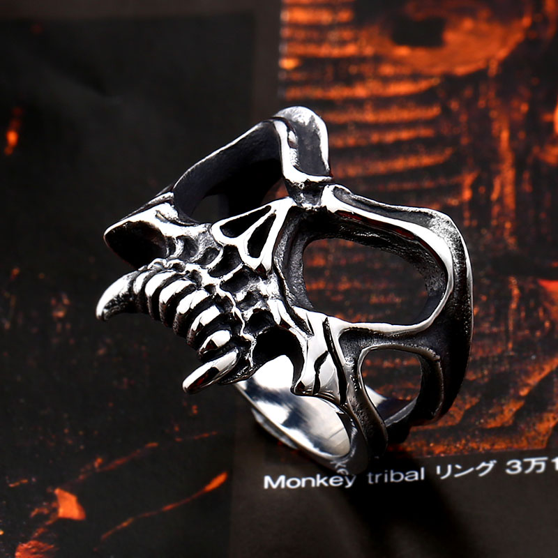 BEIER Unique 316L stainless steel Gothic Casting Evil Damn Vampire Skull mark Ring Punk jewelry for 4 - Vampire Skull Ring