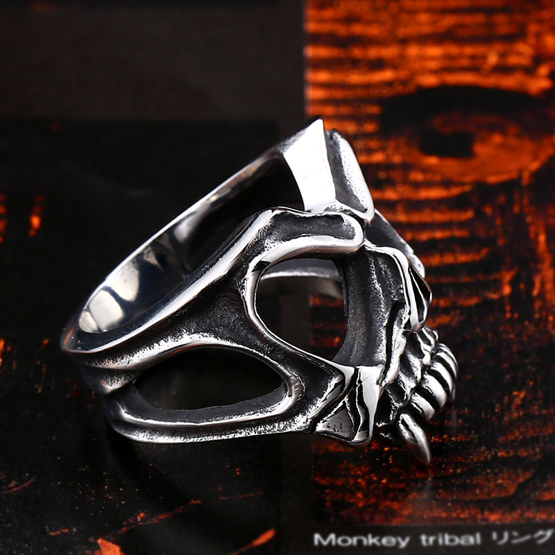BEIER Unique 316L stainless steel Gothic Casting Evil Damn Vampire Skull mark Ring Punk jewelry for 5 - Vampire Skull Ring