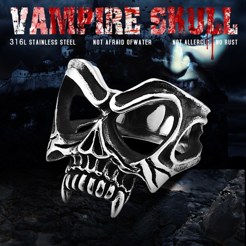 BEIER Unique 316L stainless steel Gothic Casting Evil Damn Vampire Skull mark Ring Punk jewelry for - Vampire Skull Ring