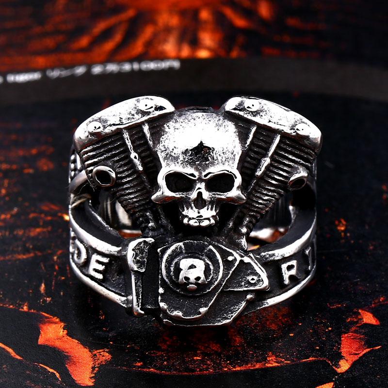 BEIER new arrive 316L Stainless Steel ring high quality Punk skull biker for men fashion Jewelry 2 - Biker Skull Ring