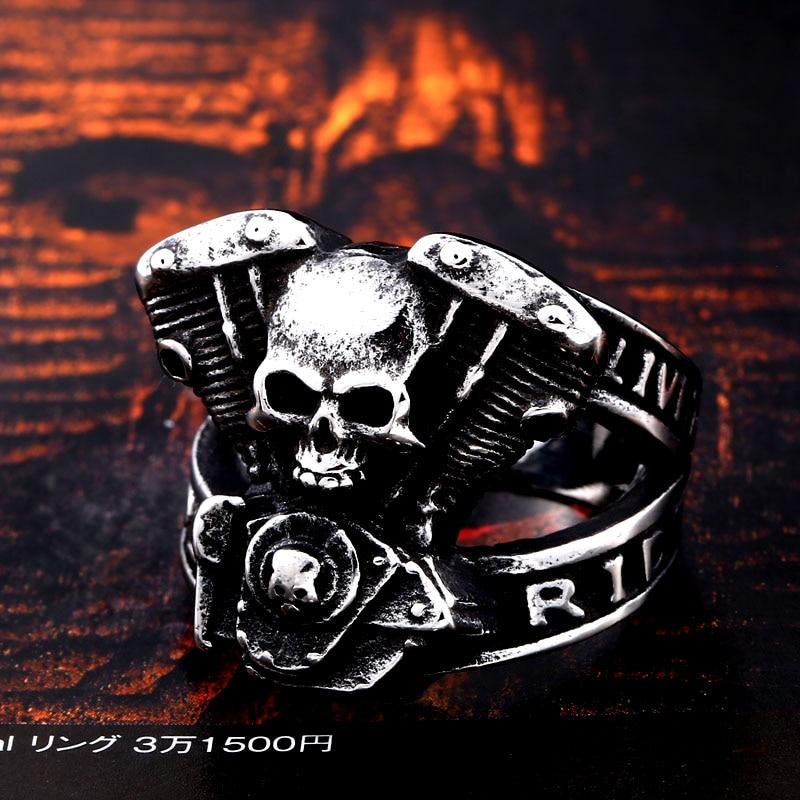 BEIER new arrive 316L Stainless Steel ring high quality Punk skull biker for men fashion Jewelry 5 - Biker Skull Ring
