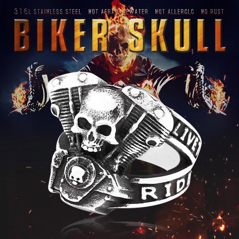 BEIER new arrive 316L Stainless Steel ring high quality Punk skull biker for men fashion Jewelry - Biker Skull Ring