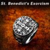 Beier 316L Stainless Steel Letter faith cross Jesus St Benedict s Exorcism for men wholesale ring 1 100x100 - St. Benedict's Exorcism Ring