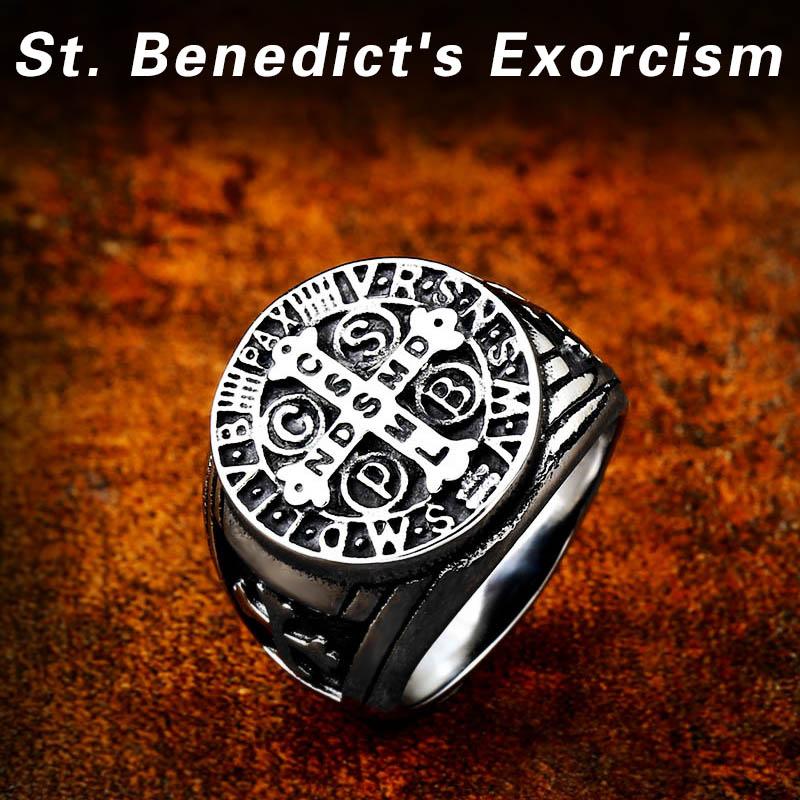 Beier 316L Stainless Steel Letter faith cross Jesus St Benedict s Exorcism for men wholesale ring 1 - St. Benedict's Exorcism Ring