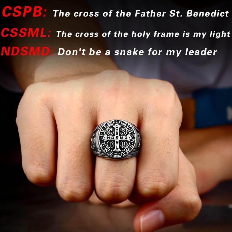 Beier 316L Stainless Steel Letter faith cross Jesus St Benedict s Exorcism for men wholesale ring 2 - St. Benedict's Exorcism Ring