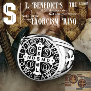 Beier 316L Stainless Steel Letter faith cross Jesus St Benedict s Exorcism for men wholesale ring 300x300 - St. Benedict's Exorcism Ring