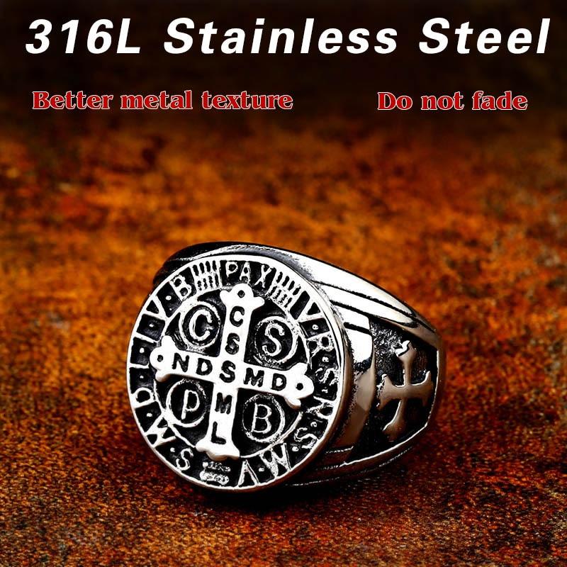 Beier 316L Stainless Steel Letter faith cross Jesus St Benedict s Exorcism for men wholesale ring 4 - St. Benedict's Exorcism Ring