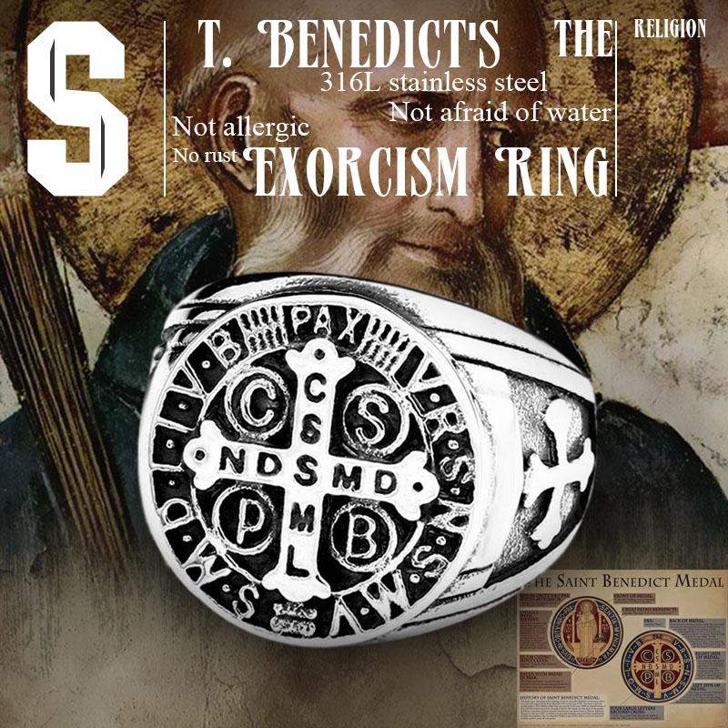 Beier 316L Stainless Steel Letter faith cross Jesus St Benedict s Exorcism for men wholesale ring - St. Benedict's Exorcism Ring
