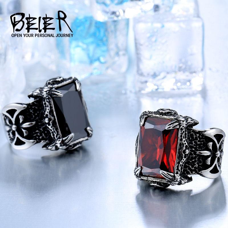 Beier 316L Stainless Steel nose viking Battle axe Blue Black Green red Zircon Big stone Classic 1 - Viking Warrior Ring