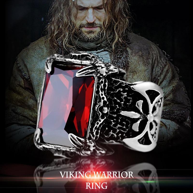 Beier 316L Stainless Steel nose viking Battle axe Blue Black Green red Zircon Big stone Classic - Viking Warrior Ring
