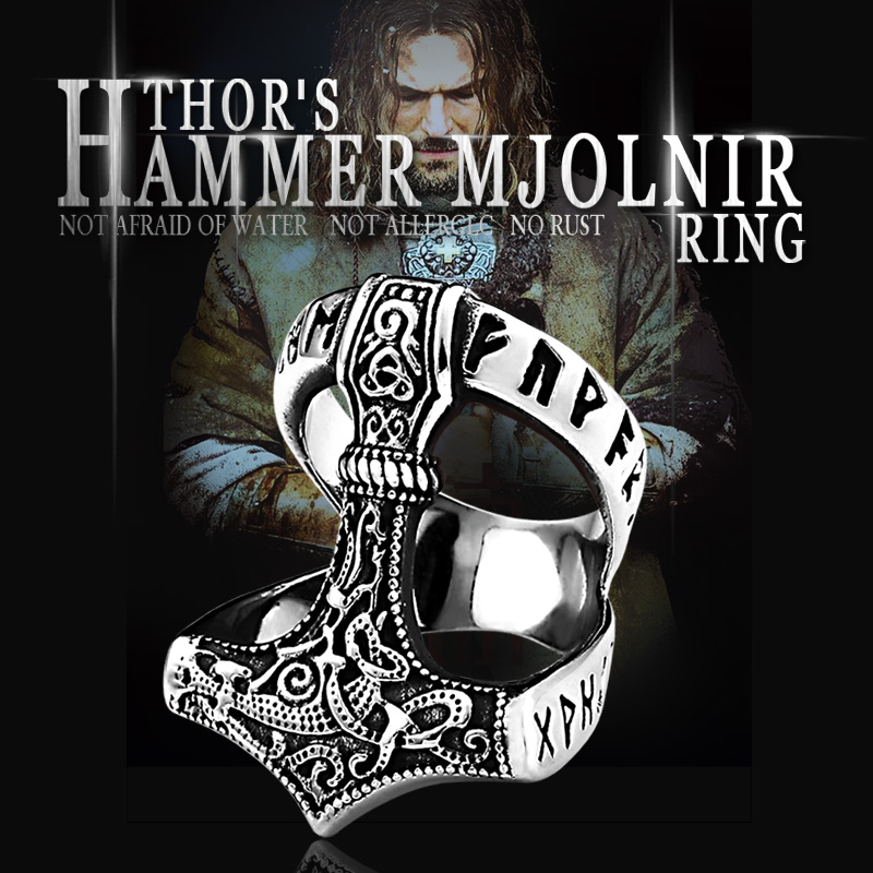 Beier Stainless Steel Norse Viking Nordic Myth thor hammer High Quality fashion wholesale ring fashion jewelry - Thor's Hammer Mjolnir Ring