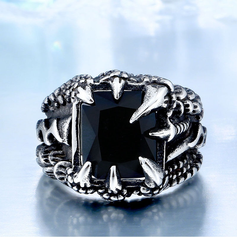 Cool Dragon Claw Ring With Red Blue Black Stone Stainless Steel CZ Ring Man s Hiqh 1 - Paladin Dragon Claw Ring