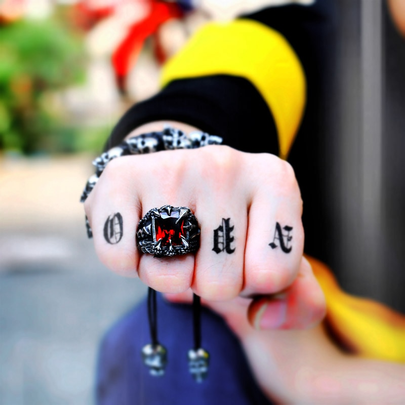 Cool Dragon Claw Ring With Red Blue Black Stone Stainless Steel CZ Ring Man s Hiqh 3 - Paladin Dragon Claw Ring