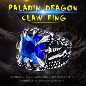 Cool Dragon Claw Ring With Red Blue Black Stone Stainless Steel CZ Ring Man s Hiqh 300x300 - Paladin Dragon Claw Ring