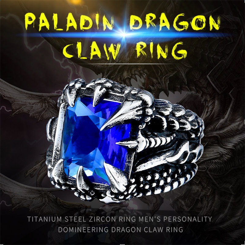 Cool Dragon Claw Ring With Red Blue Black Stone Stainless Steel CZ Ring Man s Hiqh - Paladin Dragon Claw Ring