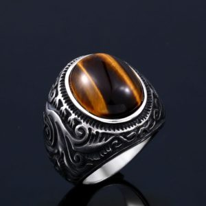Beier 316L stainless steel Vintage White and Tiger Eye Brown Eye Men s Ring Fashion High 300x300 - Iconic Ring