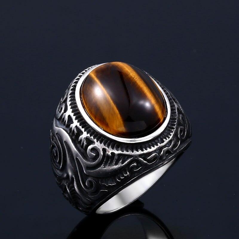 Beier 316L stainless steel Vintage White and Tiger Eye Brown Eye Men s Ring Fashion High - Tiger Eye Stone Ring