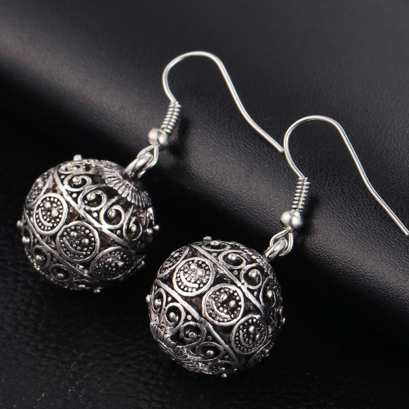 IF ME New Ball Antique Silver Color Vintage Earrings Fashion Jewelry Women Drop Minimalist Long Dangle 1 800x800 - Antique Ball Earrings