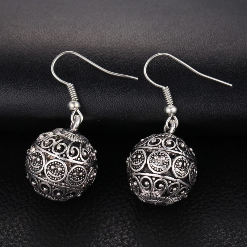 IF ME New Ball Antique Silver Color Vintage Earrings Fashion Jewelry Women Drop Minimalist Long Dangle 2 800x800 - Antique Ball Earrings