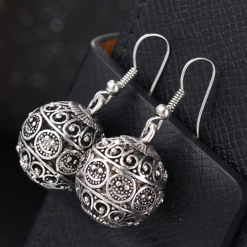 IF ME New Ball Antique Silver Color Vintage Earrings Fashion Jewelry Women Drop Minimalist Long Dangle 3 800x800 - Antique Ball Earrings