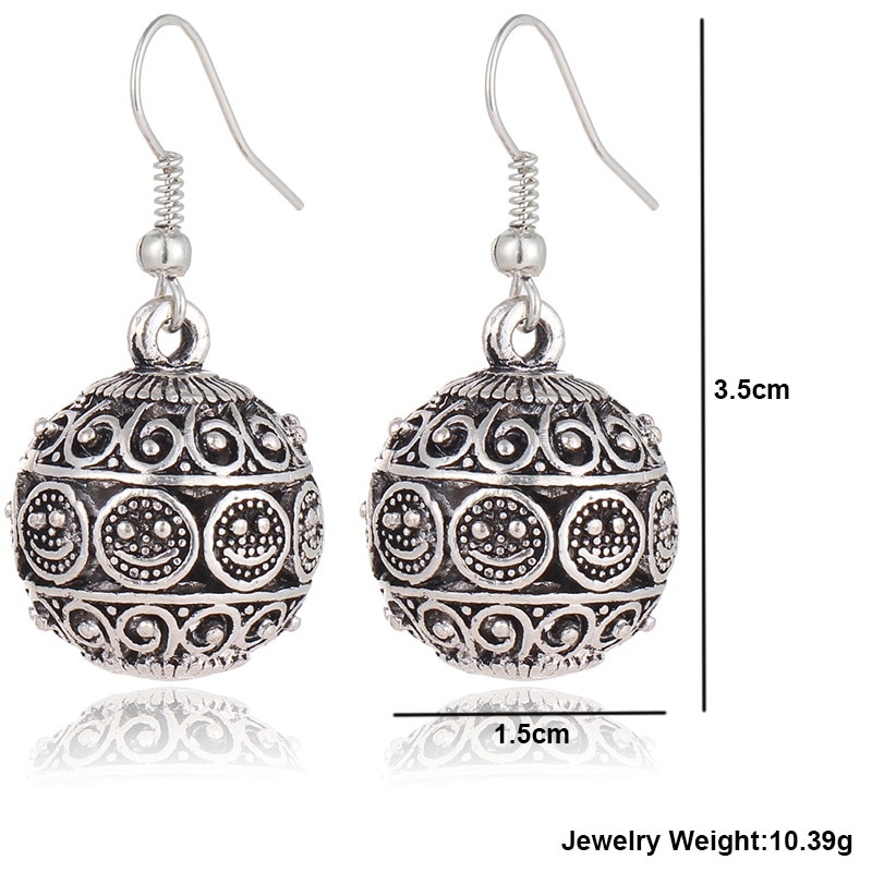 IF ME New Ball Antique Silver Color Vintage Earrings Fashion Jewelry Women Drop Minimalist Long Dangle 4 - Antique Ball Earrings