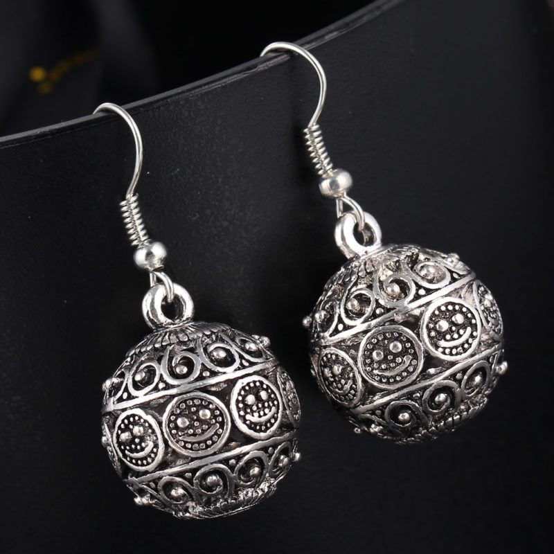 IF ME New Ball Antique Silver Color Vintage Earrings Fashion Jewelry Women Drop Minimalist Long Dangle 800x800 - Antique Ball Earrings