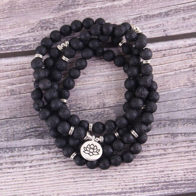 Little Minglou New Hot Lava stone 108 Mala Lotus Bracelet or Necklace Reiki Charged Buddhist Rosary 3 800x800 - Lava Stone Bracelet