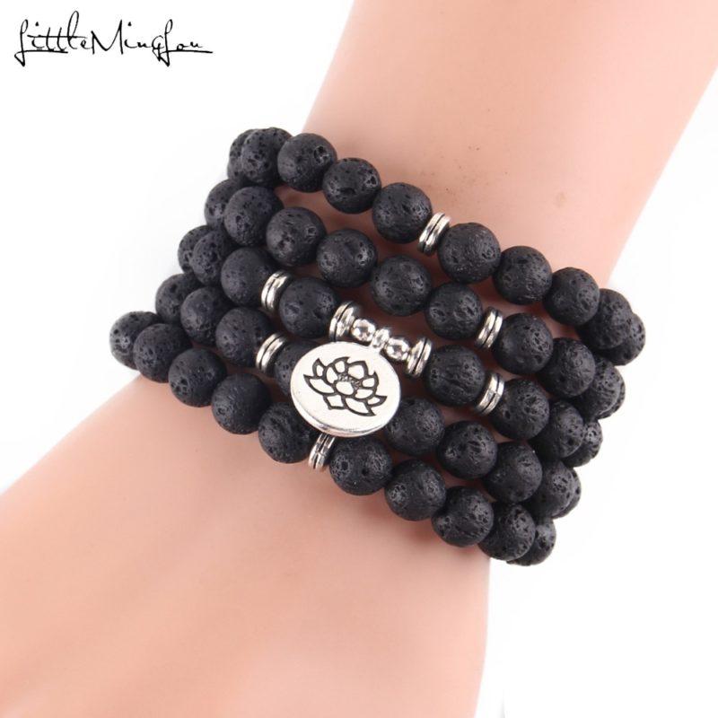 Little Minglou New Hot Lava stone 108 Mala Lotus Bracelet or Necklace Reiki Charged Buddhist Rosary 800x800 - Lava Stone Bracelet